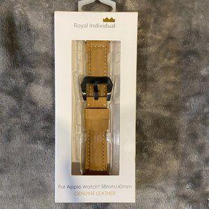 NWT ROYAL INDIVIDUAL Tan Leather Apple Watch Band